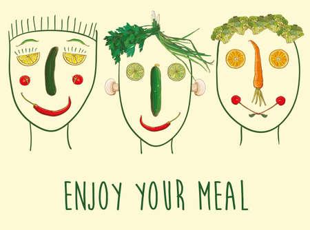 Vektor-Illustration lustig mit Gesichtern von Obst und Gemüse. Einen guten Appetit. Drei Zeichen. eps 10