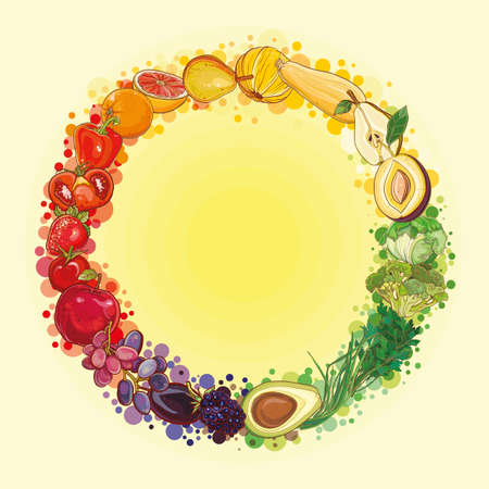Round composition with bright, fresh, juicy fruits and vegetables. Vector color vegetables icon.  Healthy lifestyle illustration for print, web. Food circle. eps 10