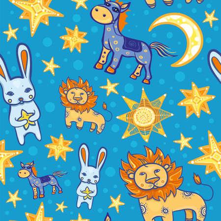 귀여운 동물들과 함께 완벽 한 벡터 패턴 : 토끼, 사자, 말, 개 및 달 밤. 어린이위한 별이 빛나는 배경. eps 10