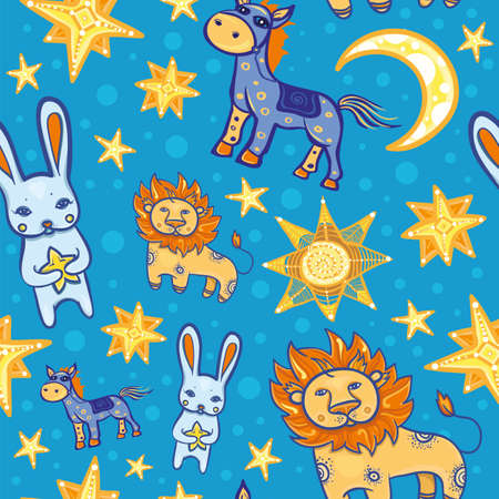 Seamless vector pattern with cute animals: hare, lion, horse, stars and moon at night. Starry background for children. eps 10