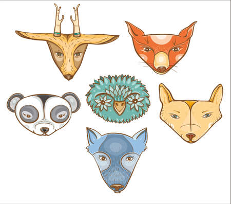 coyote: Vector set of illustration with cute baby animals: owl, wolf, panda, coyote, deer, fox. eps 10 Illustration