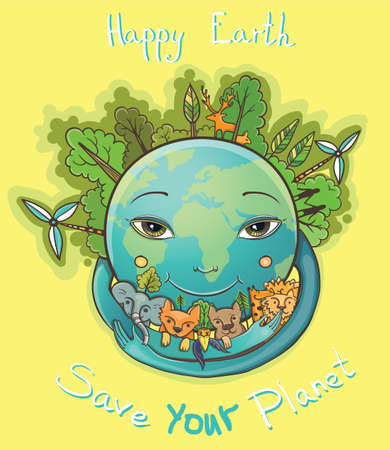 Vector illustration of Happy Green Earth embracing animals. Clean planet with animals, trees and people. All live in peace. Protect of environment. Illustration