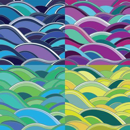 파도 원활한 벡터 패턴 녹색, 노란색, 파란색, 분홍색. 추상적 인 배경의 4 개 변형. (10) 주당 순이익 일러스트