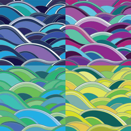 Seamless vector patterns with waves: blue, pink, yellow, green. 4 variants of abstract background. eps 10