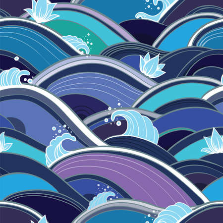 Vector seamless pattern with waves, splashes and lotuses. Abstract background with water and flowers. eps 10