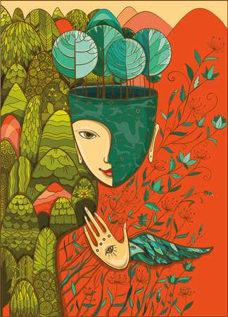 Vector ilustración en color brillante de la madre naturaleza con los animales, los árboles, las flores y montañas. Diosa de verano. Proteja del medio ambiente. Vectores