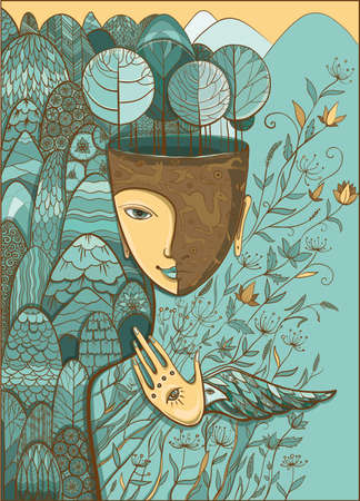 Vector pastel blue and beige illustration of Mother Nature with animals, trees, flowers and mountains. Goddess of Summer. Protect of environment.