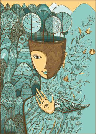 medio ambiente: Vector ilustración en colores pastel azul y beige de la madre naturaleza con los animales, los árboles, las flores y las montañas. Diosa de verano. Proteja del medio ambiente. Vectores