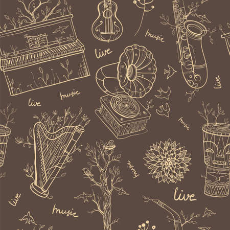 live music: Seamless vector pattern with musical instruments, gramophone, plants and bird. Illustration of live music. Music of nature. Illustration
