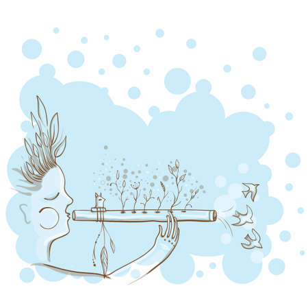 classical mythology character: Vector illustration of The man playing at the Native Americans flute. Through flute grow flowers. The spirit of music. Unity with nature