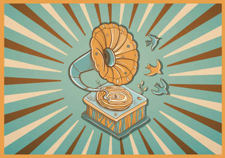Vector illustration for greeting card with retro gramophone, birds and plants. Revived music. warm colors. eps 10