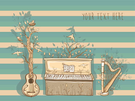 live music: Vector illustration with guitar, piano, harp. Musical instruments are trees.  Template for card or poster design. Live music of nature. Unity with nature. eps 10
