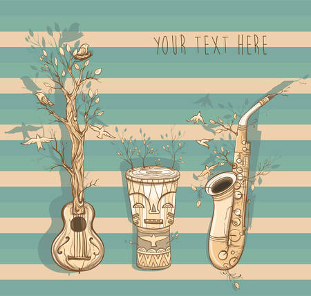 djembe: Vector illustration with guitar, saxophone, djembe drum. Template for card or poster design. Live music of nature. eps 10 Illustration