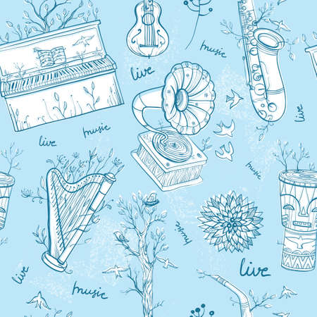 piano roll: Seamless vector pattern with musical instruments, gramophone, plants and bird. Illustration of live music. Music of nature. eps 10