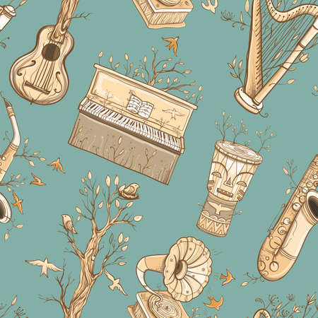 Seamless vector pattern with guitar, harp, saxophone, piano, djembe drum, gramophone, plants and birds. Illustration of live music. Music of nature. eps 10 Illustration