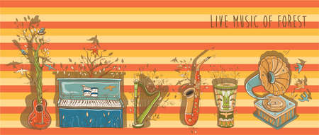 live music: Vector illustration with piano, guitar, djembe drum, harp, saxophone, gramophone. Template for card or poster design. Live music of forest. eps 10