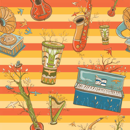 Seamless colorful vector pattern with musical instruments, gramophone, plants and bird. Illustration of live music. Music of nature. eps 10
