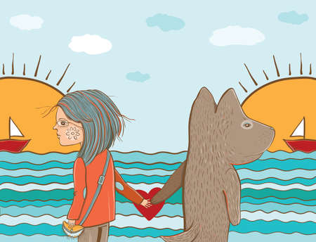 animal watching: Vector Illustration of friendship. Girl and dog watching the sea and boat. Friendship between man and animal. Template for greeting card design. eps 10