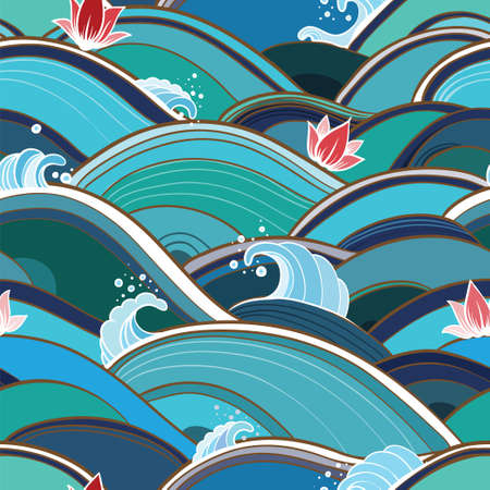 Vector seamless pattern with waves, splashes and lotuses. Abstract background with water and flowers.