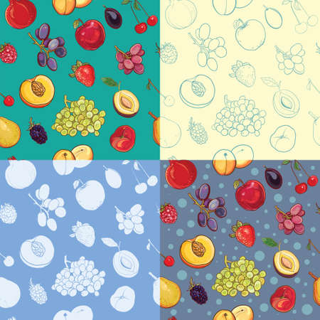 Set of seamless fruit and berry pattern with apple, grape, plum, strawberry, apricot, peach, pear, cherry, pomegranate, blackberry. Silhouette, painted, contour backdrops. eps 10