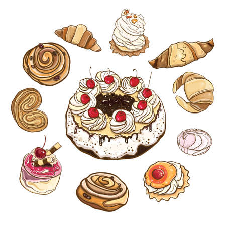 izole nesneleri: Set of sweet buns and cakes. Vector illustration of pastries and sweets. Isolated objects. eps 10 Çizim