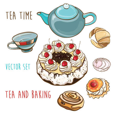 Vector set of illustration of pastry, baking, teapot and cup. Tea time. Isolated objects. eps 10