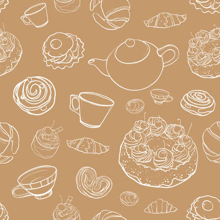 Seamless pattern Tea time. Vector contour graphics background with  baking; pastries, sweets, tea, cup, cakes, marshmallows. eps 10
