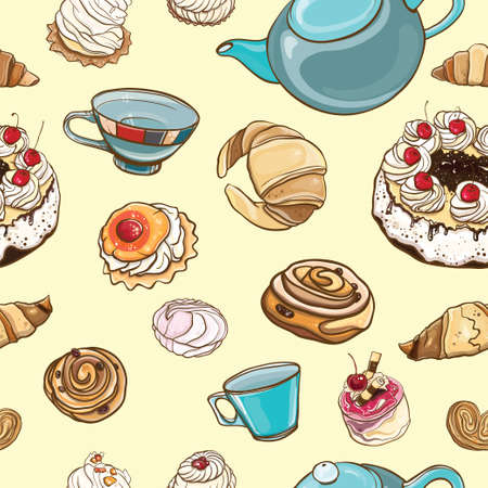 Seamless pattern Tea time. Vector colorful background with pastries, sweets, tea, cup, cakes, marshmallows. eps 10