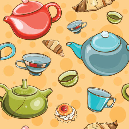 utensils: Bright colorful seamless pattern with tea set. Tea time. eps 10 Illustration