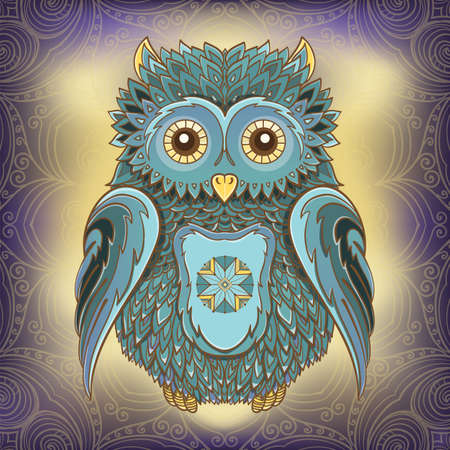 night bird: Vector illustration of owl on ornamental background. Design template for cards. eps 10