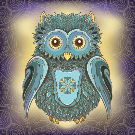 Vector illustration of owl on ornamental background. Design template for cards. eps 10