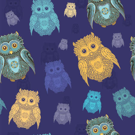 Seamless pattern with varicolored owls on dark blue background.  Illustration