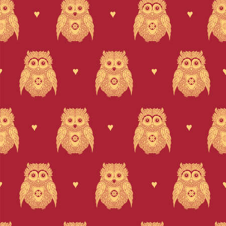 Vector seamless pattern with cute gold owls on red background. Illustration