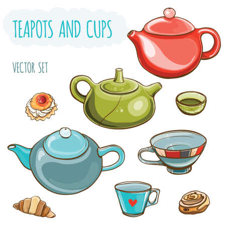 Tea set. Vector illustration set of teapots and cups.Tea time. Isolated.  Vettoriali