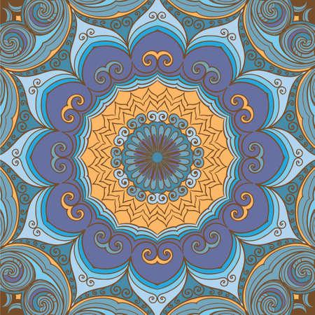 Sun flower: Dekorativer Kreis Hintergrund mit vielen Details. Runde Verzierung in Platz.