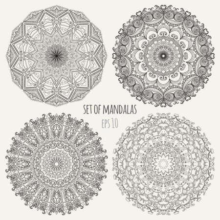 indian ocean: Vector contour Mandala. Vintage decorative elements. Set of four ornament lace. Hand drawn background. Oriental ethnic motifs. eps 10 Illustration