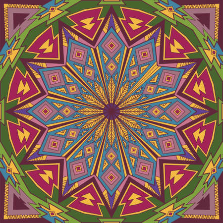 native people: Ornamental circle color background with many geometric details. Round ornament in square. Ethnic motifs. eps 10 Illustration