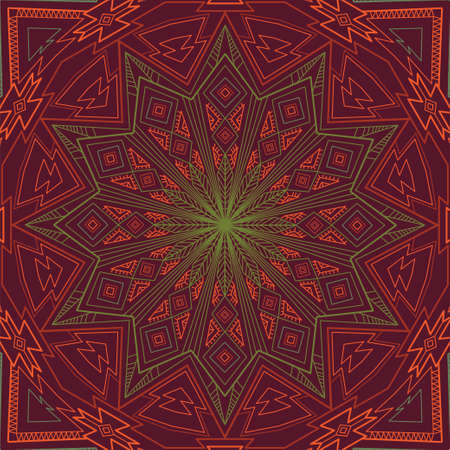 red green: Ornamental circle contour background with many geometric details. Round ornament in square. Ethnic motifs. eps 10