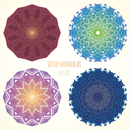 Vector color Mandala. Vintage decorative elements. Set of four ornament lace. Hand drawn background. Ethnic motifs.