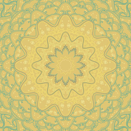 Ornamental circle background with many details on the yellow backdrop. Round contour ornament in square. Oriental ethnic motifs.