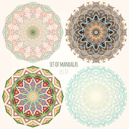 Vector color Mandala. Vintage decorative elements. Set of four ornament lace. Hand drawn background. Eastern and African ethnic motifs. eps 10 Illustration