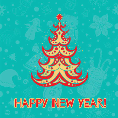 Vector Illustration of decorative christmas tree on the seamless christmas background. Happy New Year card. eps 10