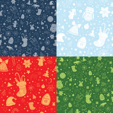 Set of Christmas vector seamless patterns with christmas attributes. Silhouette and contour shapes on red, green and blue background. eps 10 Illustration