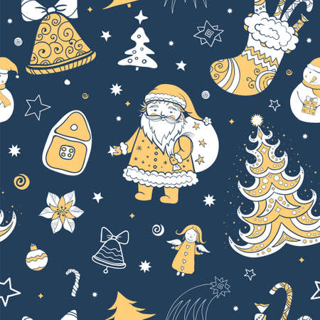 candy cartoon: Seamless tricolor vector christmas pattern, tileable. Illustration of Santa Claus, Christmas attributes. Template for design. eps 10