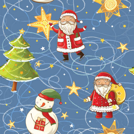 Seamless vector pattern with Santa Claus, snowman, christmas tree and stars. Tileable christmas background.