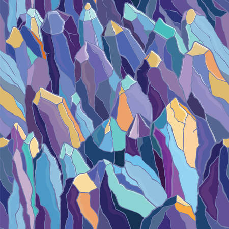Vector seamless pattern with crystals and stones. Violet, blue and yellow colors. Template for design.