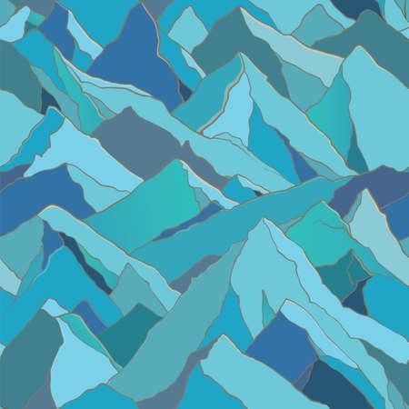 backdrop design: Seamless vector pattern with mountains landscape. Design backdrop Illustration