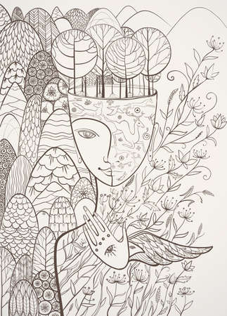 Vector contour illustration of Mother Nature with animals, trees, flowers and mountains. Goddess of Summer. Protect of environment. eps 10
