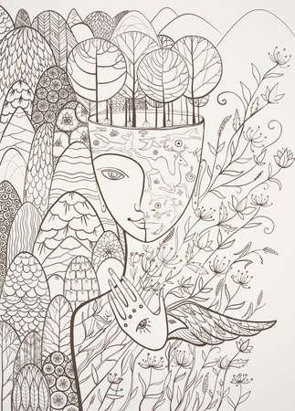 femme dessin: Vector illustration contour de Mère Nature avec des animaux, des arbres, des fleurs et des montagnes. Déesse de l'été. Protéger l'environnement. eps 10 Illustration