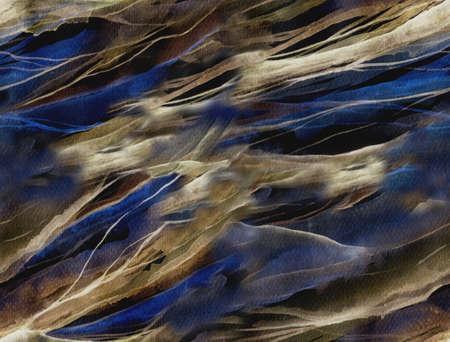 水彩スポットと抽象的なシームレス パターン。あなたの設計のための背景として水彩画。滑らかな波のテクスチャです。暗い反転バージョンです。